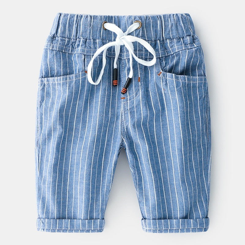 Boys Striped 3/4 Shorts