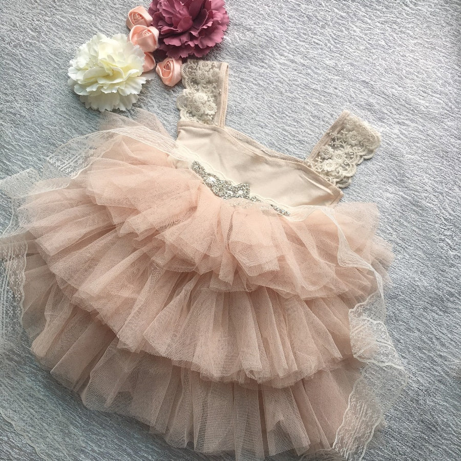 Lace Strap Tutu Dress with Rhinestone Sash