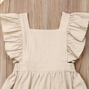 Linen Ruffle Sleeve Backless Dress - Beige