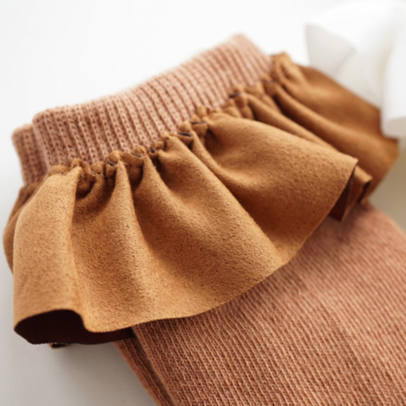 Suede Ruffle Top Knee-high Cotton Socks