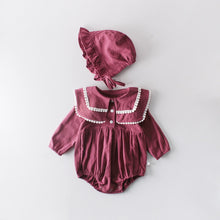 Load image into Gallery viewer, Baby Girl Cotton Lapel Romper with Bonnet