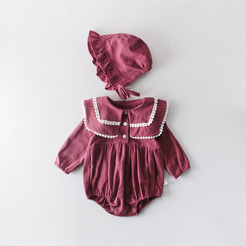Baby Girl Cotton Lapel Romper with Bonnet