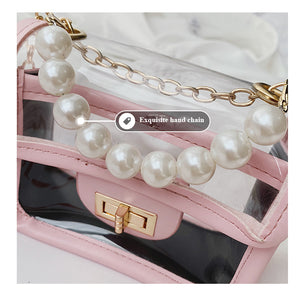 Transparent Pearl Handle Messenger Bag