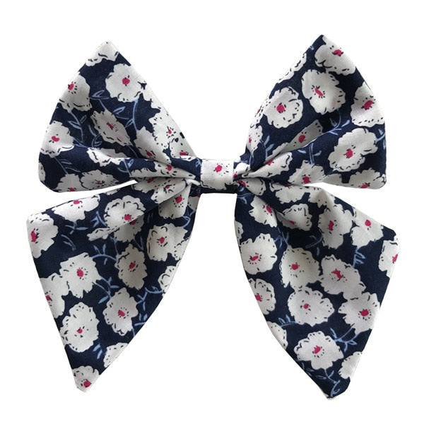 Floral Sailor Hair Bow - 4.5