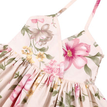 Load image into Gallery viewer, Floral Drawstring Halter Neck Dress