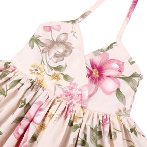 Floral Drawstring Halter Neck Dress