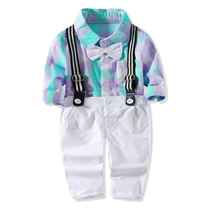 Checked Long Sleeve & Suspender Pants set