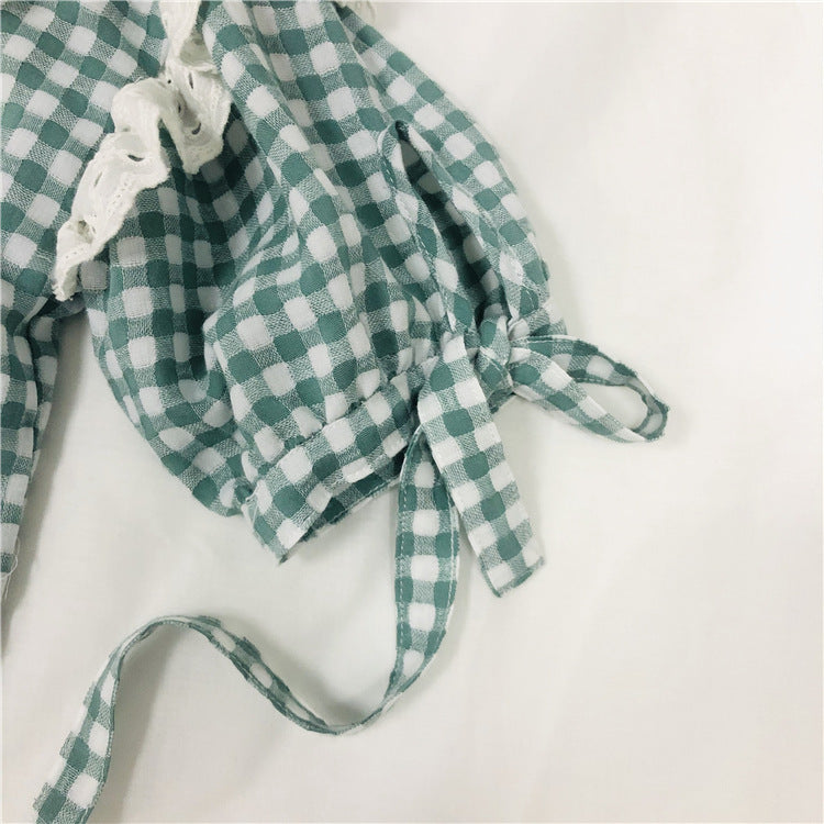 Gingham Tie-sleeve Lace Frill shirt