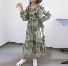 Load image into Gallery viewer, Gingham Ruffle Collar Long Sleeve Dress