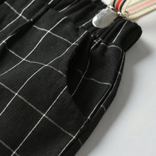 Load image into Gallery viewer, 5PC Black Plaid Jacket, Shirt, Bow tie, Pants and Suspender set