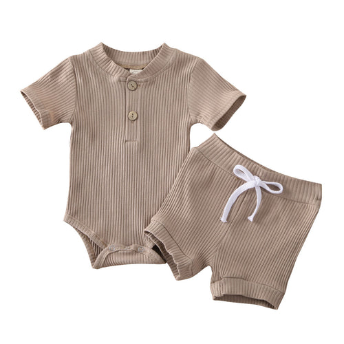 2PC Ribbed Button Romper and Shorts set