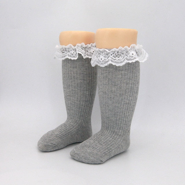 Ribbed Lace Top Knee-High Socks