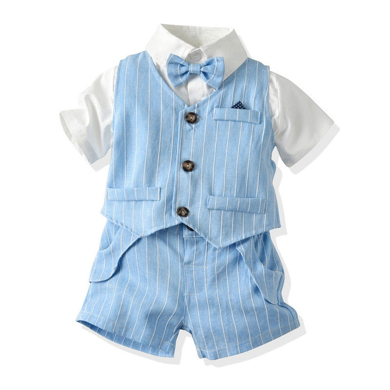 4PC Blue Stripe Suit Summer Set