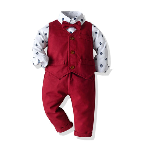 4PC Sailor Shirt, Red Suit Vest, Pants and Bow set