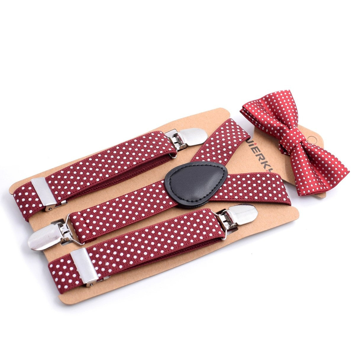 Polka Dot Bow Tie and Adjustable Suspenders Set
