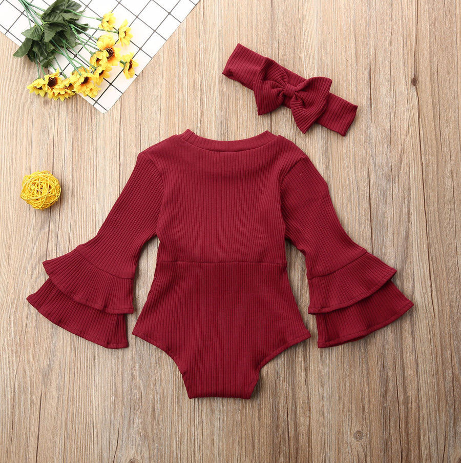 2PC Flute Sleeve Knit Romper with Headband set