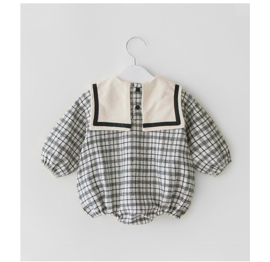 Plaid Flannelette Sailor Collar Romper