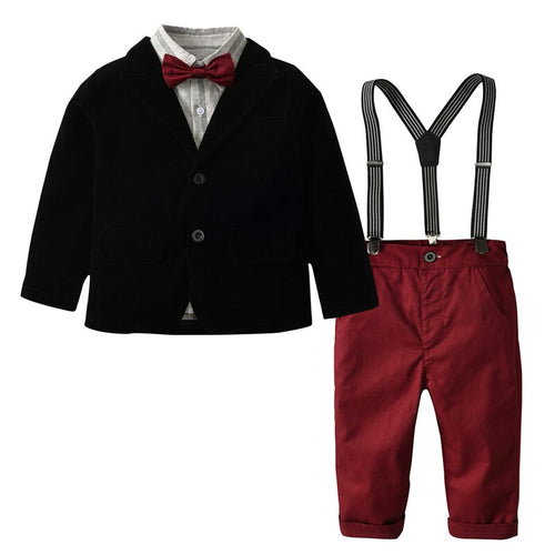 5PC Black & Red Jacket, Shirt. Suspender Pants & Bow Tie set