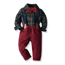 Load image into Gallery viewer, 3PC Green Plaid Bow Shirt & Suspender Pants set