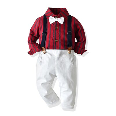 3PC Stripe Bow Shirt, Pants and Suspenders set