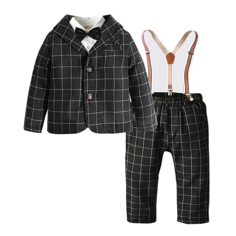 5PC Black Plaid Jacket, Shirt, Bow tie, Pants and Suspender set