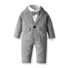 Load image into Gallery viewer, 5PC Grey Blazer, Shirt, Bow Tie, Pants and Suspender Set