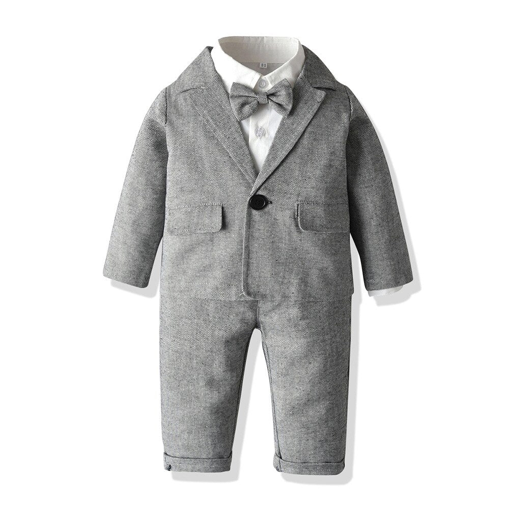 5PC Grey Blazer, Shirt, Bow Tie, Pants and Suspender Set