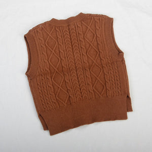 Brown Cable Knit Split Vest