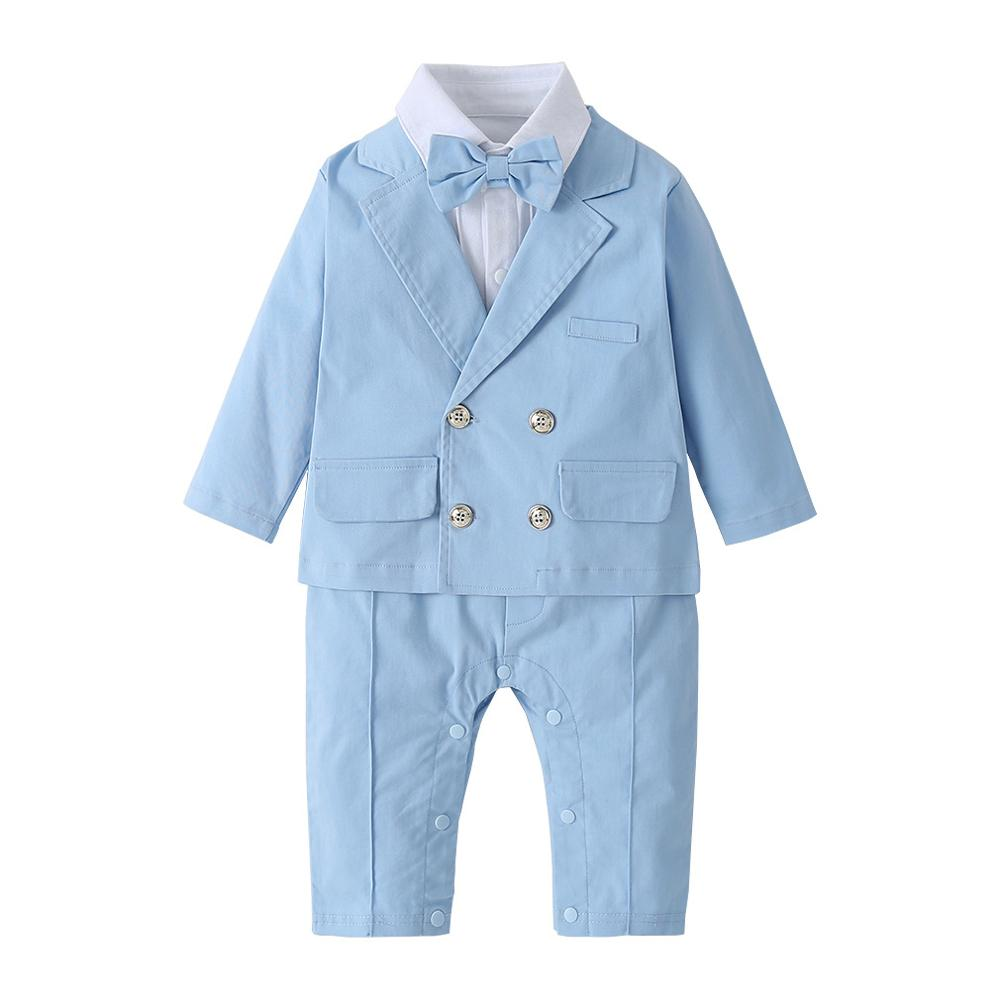 2PC Baby Blue Gentlemen Suit Jacket & Romper