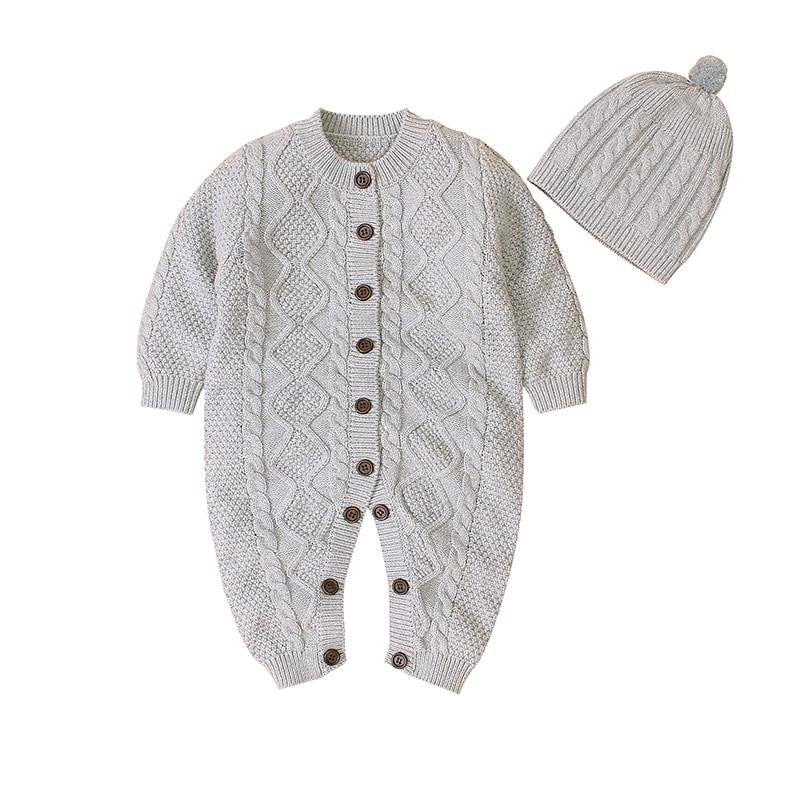 Baby Cable Knit Button Front Romper with Beanie set