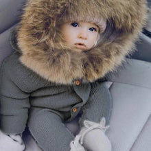 Load image into Gallery viewer, Baby Knitted Fur Hood Romper