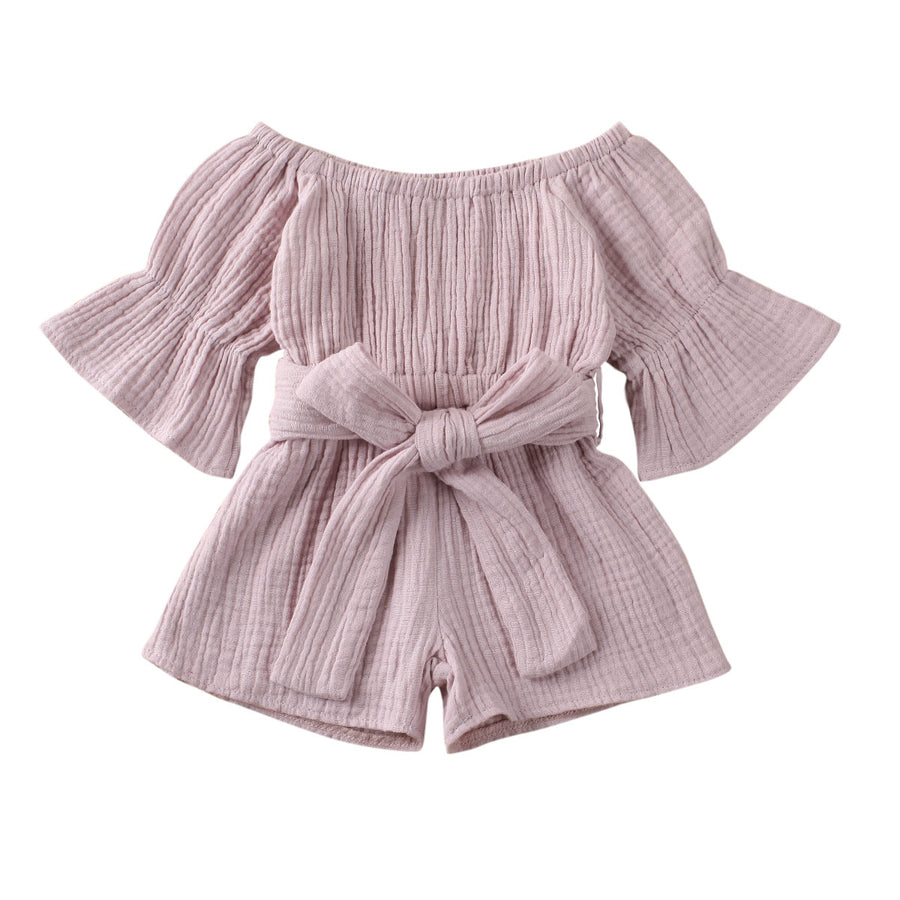 Off Shoulder Tie Waist Playsuit