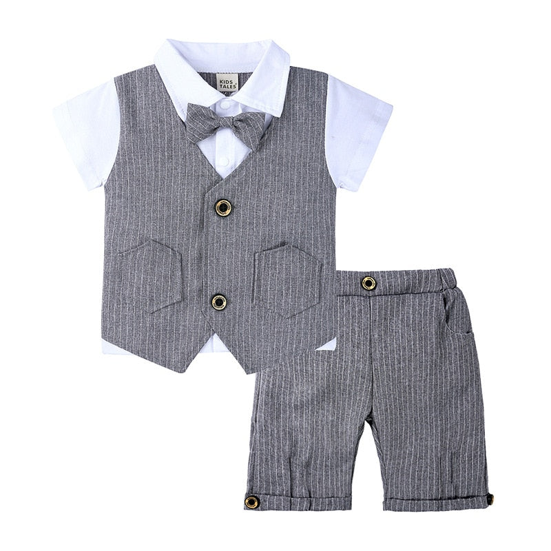 2PC Pinstripe Vest Shirt and Shorts Set