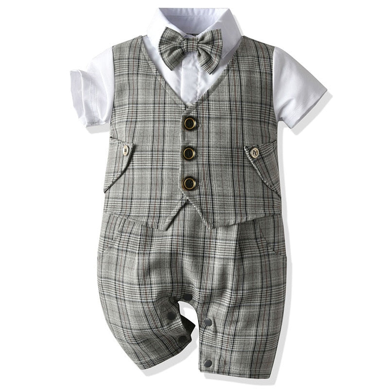 Checked One-piece Gent Romper