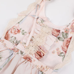 Peach Floral and Lace Jumpsuit