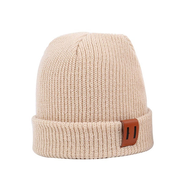 Knitted Beanie with Leather Label