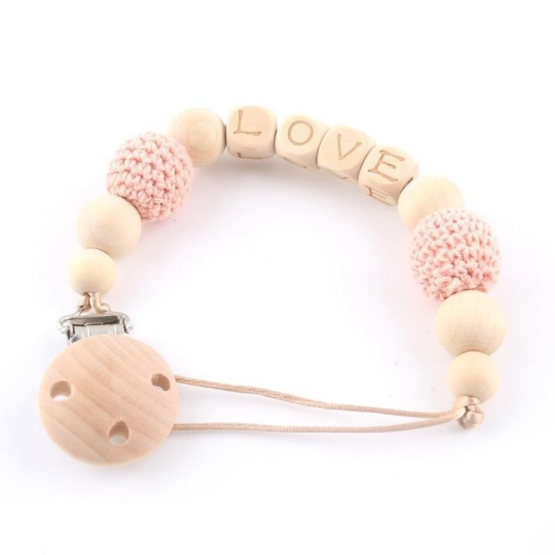 Personalised Wood and Crochet Beaded Pacifier Chain
