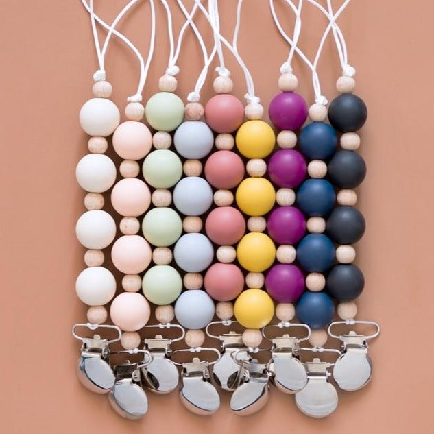 Silicone and Wood Beaded Metal Clip Pacifier Chain