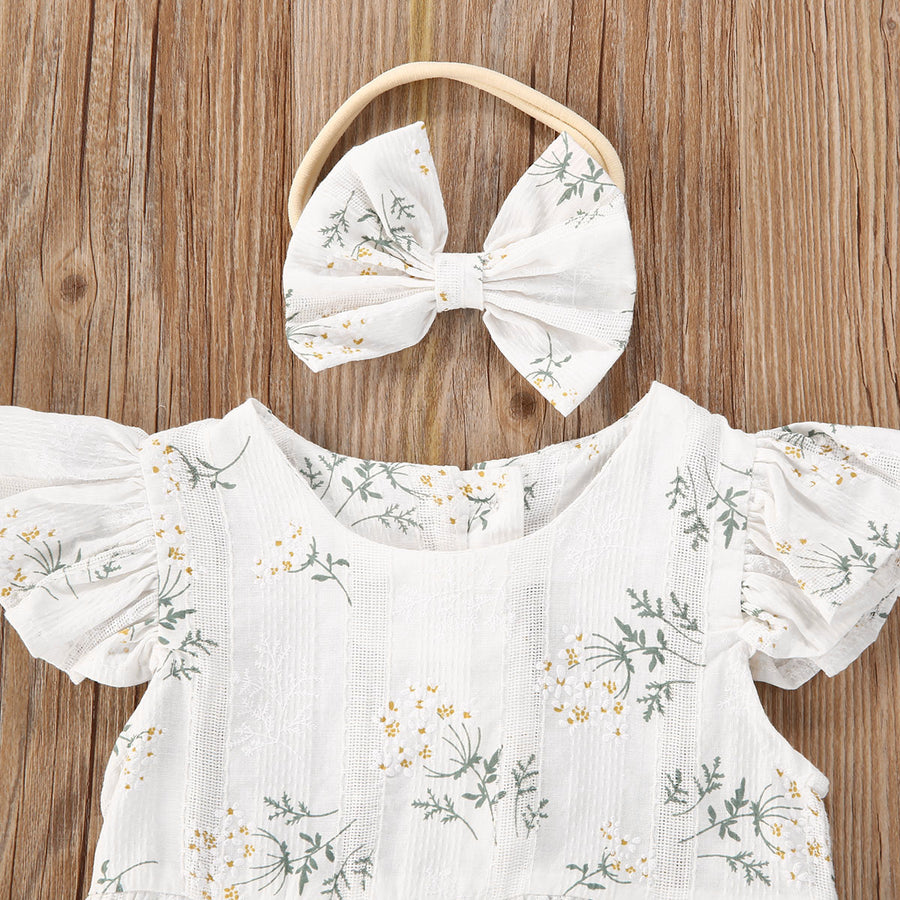 White Floral Ruffle Cuff Romper and Headband