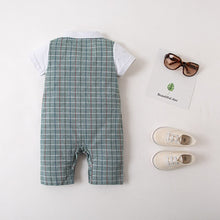 Load image into Gallery viewer, Green Plaid Tuxedo Romper