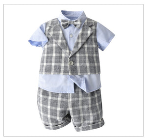 3PC Plaid Gent Summer Set