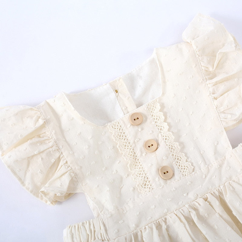 Lace and Buttons Fly Sleeve Dress
