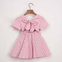 Load image into Gallery viewer, Plaid Short Sleeve Backless Dress