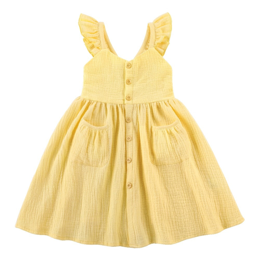 Yellow Petal Cuff Pocket Dress
