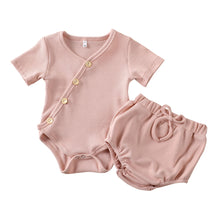 Load image into Gallery viewer, 2PC Diagonal Button Ribbed Romper and Bloomers set