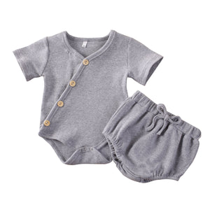 2PC Diagonal Button Ribbed Romper and Bloomers set