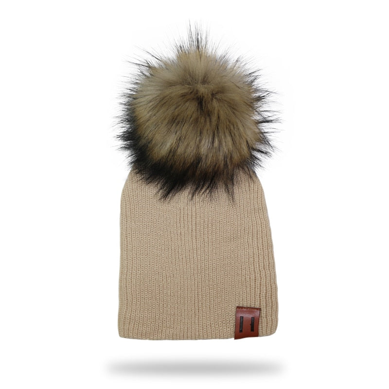 Brown Fur Pompom Knitted Beanie