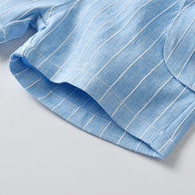 Load image into Gallery viewer, 4PC Blue Stripe Suit Summer Set