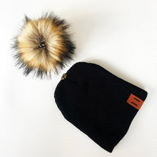 Load image into Gallery viewer, Brown Fur Pompom Knitted Beanie