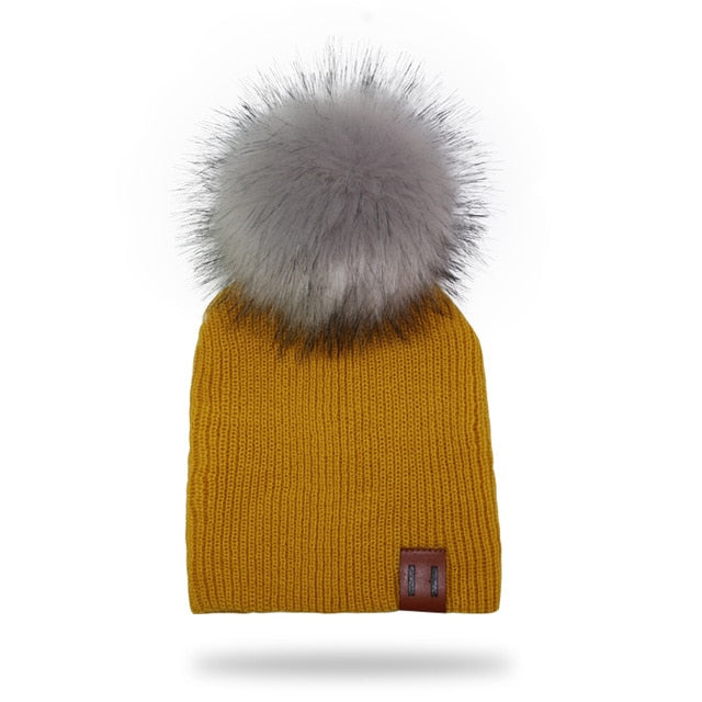 Grey Fur Pompom Knitted Beanie